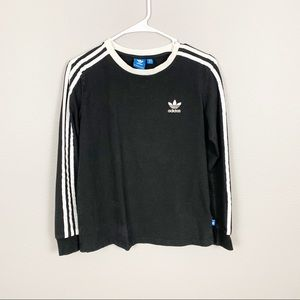 Adidas Logo 3 Striped Long Sleeve Top